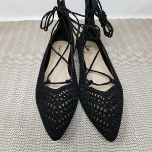 Qupid Black Suede Lace-Up the Ankle Flats